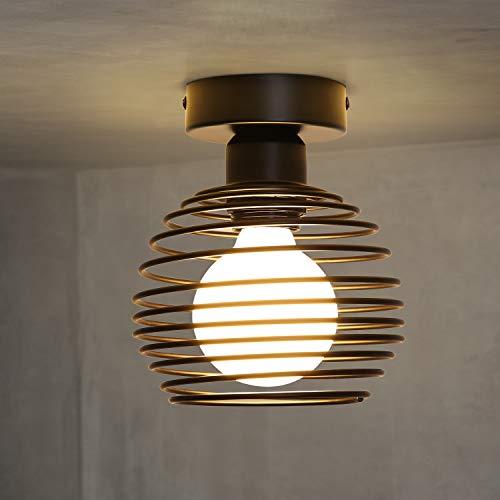 ZMH Lampada da soffitto vintage plafoniera camera letto - Nero lampadario industriale cucina ferro battuto arredamento portalampada E27 luci design casa salotto garage illuminazione per interni