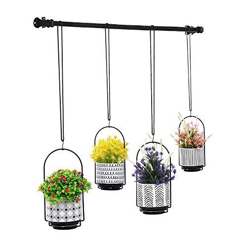 Hanging Planters for Window with 4 Plants Pots – Wall | Window Plant Hanger Indoor Herb Garden