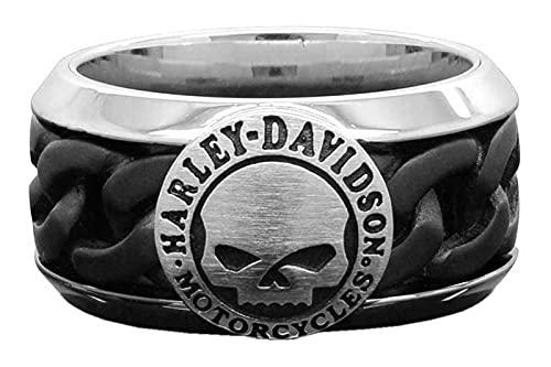 Harley-Davidson Men's Black Steel Chain Willie G Skull H-D Ring HSR0030 (11)