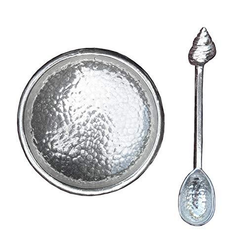 Fijne tinnen zout kom met shell ontwerp zoutlepel, handcast in geslagen tinnen door William Sturt