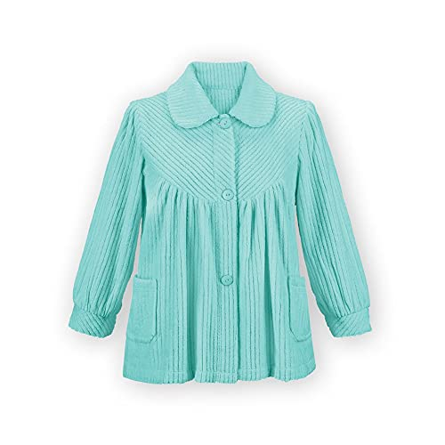 Women's Soft Fleece Button Down Night Shirt with Pockets - Comfy Flattering Fit Over Pajamas or Nightgown, Mint, Large