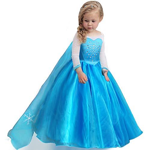 Fairybasic Girls Princess Frozen Elsa Costume Blue Dress Birthday Christmas Party Role Play Dress Up Ball Gown, 4-6