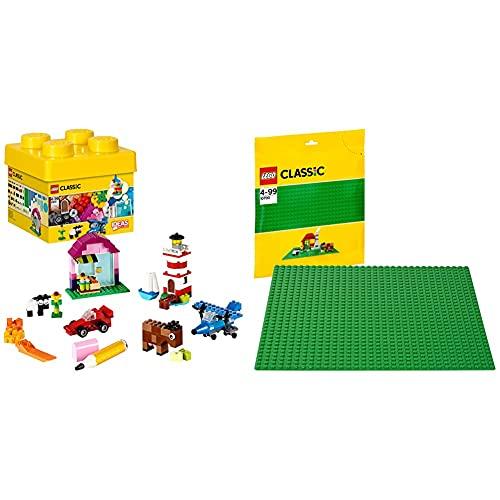 Lego Classic, Scatola Mattoncini Creativi, Piccola, 221 Pezzi, 10692 & Classic, Base Verde, 10700