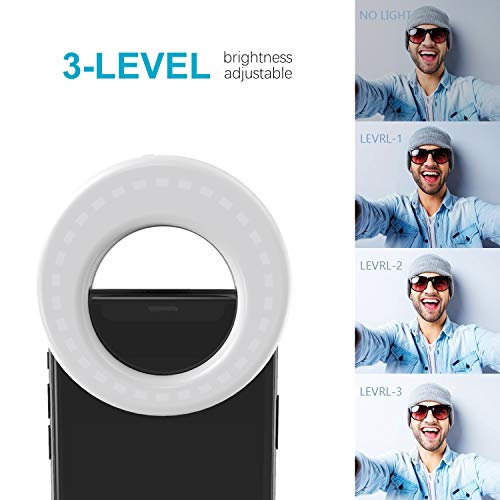 QIAYA Selfie Light Ring Lights LED Circle Light Cell Phone Laptop Camera Photography Video Lighting Clip On Rechargeable