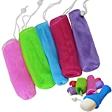 Evelots Exfoliating Soap Saver-Mesh Pouches-Bath/Shower-Hanging Cord-Save-Set/5