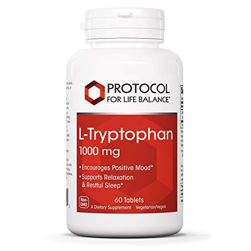 Protocol For Life Balance - L-Tryptophan 1,000 mg - Supports Relaxation, Encourages Positive Mood, and Promotes Restful Sleep While Providing Essential Nutrients - 60 Tablets