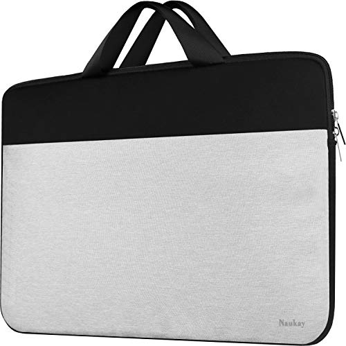 Laptop Sleeve 15.6 inch, Shockproof Protective Case Travel Briefcase Handle Bag Compatible MacBook Pro 16'/14' 15' 15.6' HP Asus Acer Dell Lenovo Chromebook Computer for Men Women-Black/Grey