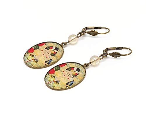 Pendientes de resina Frida mariposa azul amarillo verde latón bronce perla regalos personalizados...