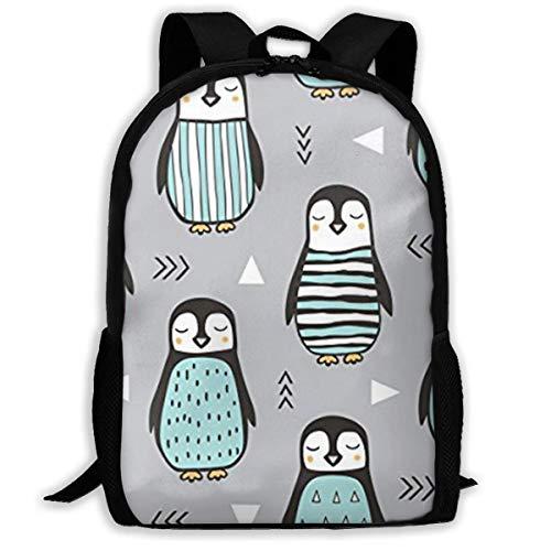 Lustige Rucksack für Damen und Jugendliche, Pinguine mit Pullover, geometrischer Rucksack, geeignet für Schule, Camping, Reisen, Outdoor