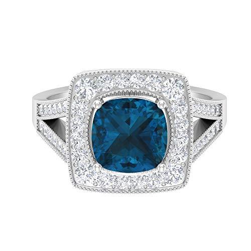 Anillo solitario de corte cojín de 8 mm, D-VSSI Moissanita halo con piedras laterales, anillo de vástago dividido en oro blanco de 14 quilates azul