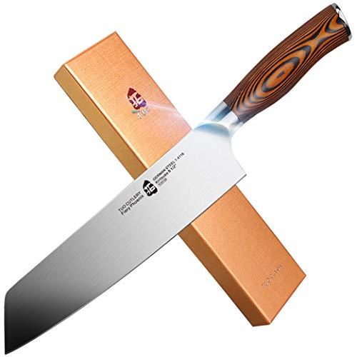 TUO Kiritsuke Knife - Chinese Chef's Knife - High Carbon German Stainless Steel Asian Kitchen Knife- Ergonomic Pakkawood Handle Cutlery - 8.5 inch - Fiery Phoenix Series