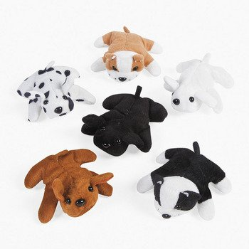 Mini Stuffed Animal Puppies - Set of 12 Plush Dogs - Toys Party Favors and Easter Basket Filler