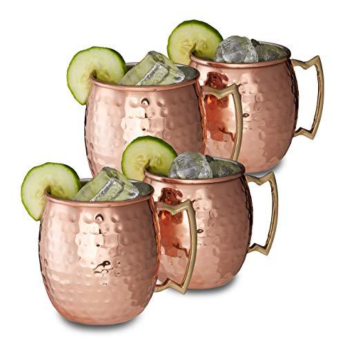 Relaxdays Moscow Mule Becher 4er Set, für Cocktails, Kaltgetränke, Barzubehör, Edelstahltasse, bauchig, 0,5 l, Kupfer