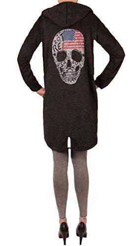 Fashion You Want Damen Cardigan Größe 38/40-48/50 verfügbar Sterne Star Sweatjacke Bolero Strickjacke Become a Star (48/50, Skull USA schwarz)