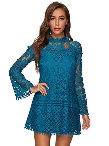 SheIn Women's Crochet Pom-Pom Sheer Lace Bell Sleeve Dress Large Blue