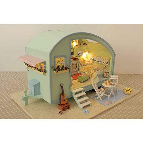 Hearthrousy DIY Puppenhaus Miniatur Haus Selber Bauen Zum Basteln Zubehör Holz Lernspielzeug Spielzeug Kinder 3D Kleine Frische Art Möbel Installationssatz Geburtstags Geschenke für Frauen Mädchen