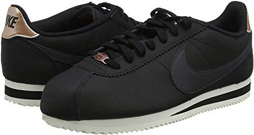 Nike Damen Classic Cortez Laufschuhe, Noir/Aus Noir/Schwarz/Metallic Gold, 40 EU