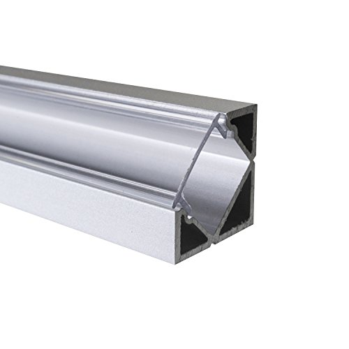 KLAR - 200 cm LED Aluminium Profil ECKE-45 + 200 cm transparent durchsichtige Abdeckung für LED-Streifen Alu von Alumino®