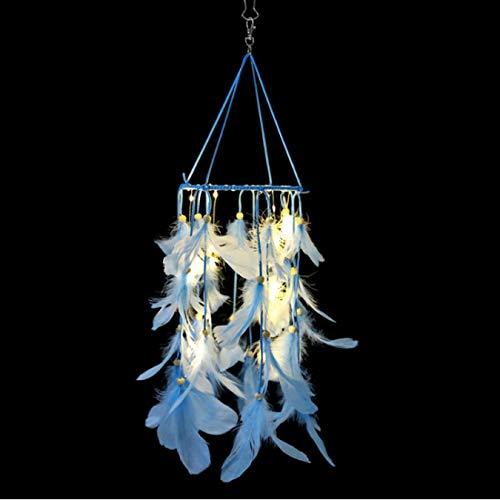 FVNJHL Attrape-rêves de Plume Bleu Clair LED Carillon de Vent Voitures Enfants Chambre capteur de rêves Balcon décoration Murale Ornements Suspendus 65 Cm * 16 Cm