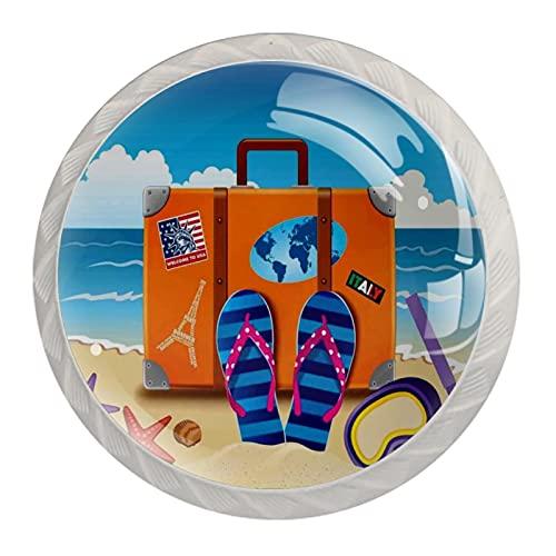 Tirador de cajón tirador de cristal redondo Perillas del gabinete Manija del gabinete de cocina,Ilustración de maleta de viaje con pegatinas