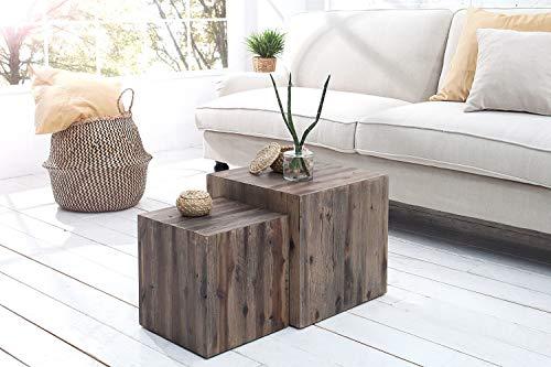 *Holz Beistelltisch Set 2 Stück Treibholz massiv Unikat Couchtisch Wohnzimmer ARCAL*