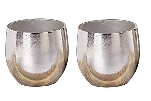 Vase Flaire Übertopf Aluminium Silber Höhe 13-17 cm, Deko, Pflanze, Blumen, Haus, Wohnung (2 x Höhe 13 cm (Set))