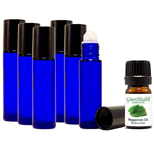 Greenhealth, Cobalt Blue, 10ml Glass Roll on Bottles (Pack of 6), with 5ml Greenhealth Peppermint Oil