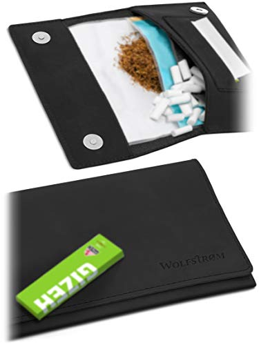Tabaktasche 'Halona' – Kompakter Tabak-Beutel Leder, Set inkl. Gizeh Papers – Dreher-Tasche mit Magnetverschluss, Filterfach & Blättchen-Halter – Norwegian Black