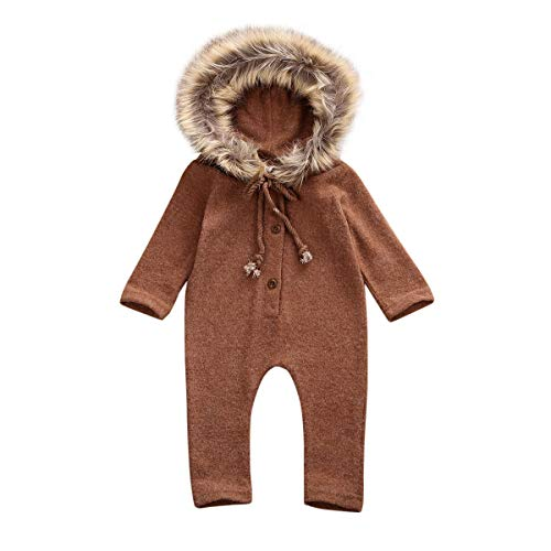 LAJIFENLEI Infant Baby Girl Knitted Sweater Jumpsuit One-Piece Romper Faux Fur Hoodie Jumpsuit Autumn Winter Warm Clothes (Brown, 6-12Months)