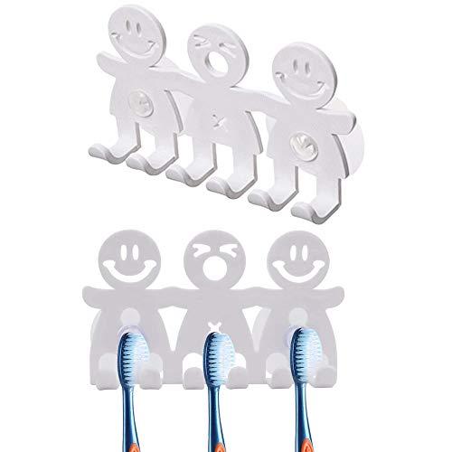 Smiling 2Pcs Zahnbürstenhalter,Face-Karikatur Wand-Sauger-Zahnbürste Zahnstangen-Halter,Bad Organizer-Tool mit Saugnapf für Zahnbürsten Halterung Wandhalterung,Selbstklebend & ohne Bohren