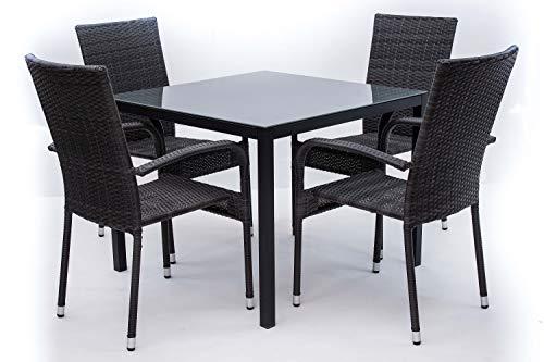 AVANTI TRENDSTORE - Arezzo small - Set da giardino composto da tavolo in metallo con superficie in vetro e quattro sedie impilabili in rattan sintetico