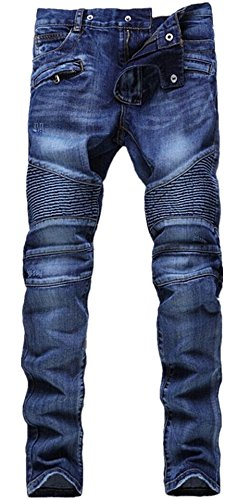 HerQueen Jeans Vintage Ripped Biker Classic Slim Pants Stretched Delim Blue Size 38