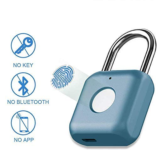 Candado con huella digital Mini candado inteligente Carga USB sin llave Cerradura biométrica de alta seguridad para casillero de gimnasio, casillero, maletas (azul)