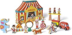 Image: Janod Story Box Circus | All pieces are made from high quality wood | Includes 19 wooden animals, acrobats, vehicles and more