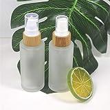 Botella de envase cosmético Botella de vidrio congelado de 50 ml Botella de bambú de madera de granos de madera Cosméticos Cuidado de la piel del producto Contenedor de envasado ( Color : Spray pump )