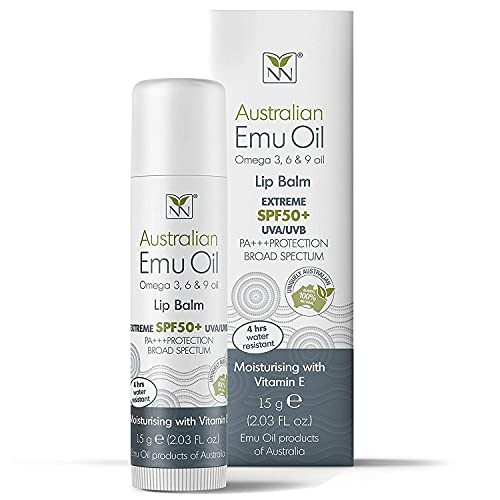 Y-Not Natural- Emu Oil Lip Balm with EXTREME SPF50+ Sun Protection (15g Stick) | 4 Hr. Water Resistant | Fortified w/Moisturizing Vitamin E, Amino Acids & Healthy Omega 3, 6 & 9 Fatty Acids