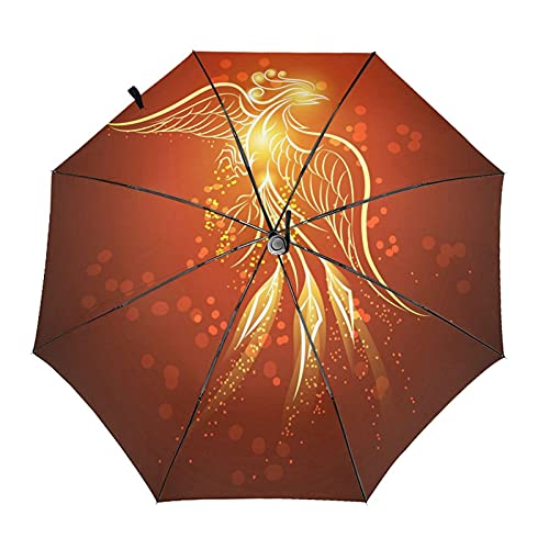 Donono Paraguas automático de tres pliegues 3d impresión Phoenix renacimiento en fuego a prueba de viento protección UV lluvia paraguas interior impresión para al aire libre