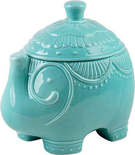 Home Essentials Turquoise Elephant Ceramic Cookie Jar