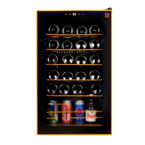 VIY Nevera vinos Vinoteca de 24 Botellas Luz LED Display Digital 6 Estantes Doble Aislamiento Zonas de Temperatura de 5-20 Grados Baldas Acero Inoxidable