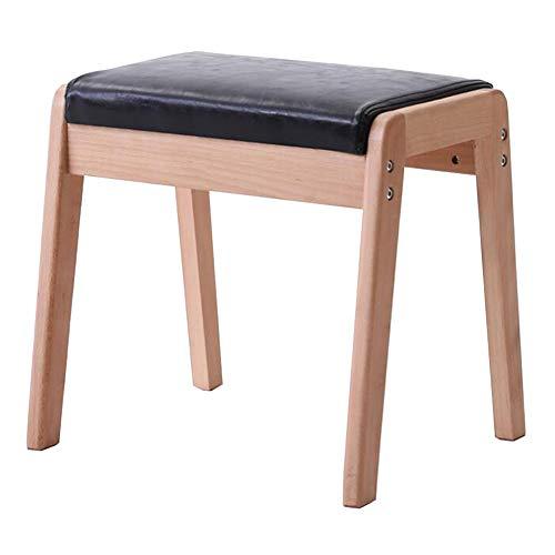 WYYY chairs Reposapiés otomano de madera maciza de poliuretano, taburetes multiuso, cambio de zapatos, taburete resistente al agua, duradero (color: negro, tamaño: 44,5 x 49 x 42 cm)