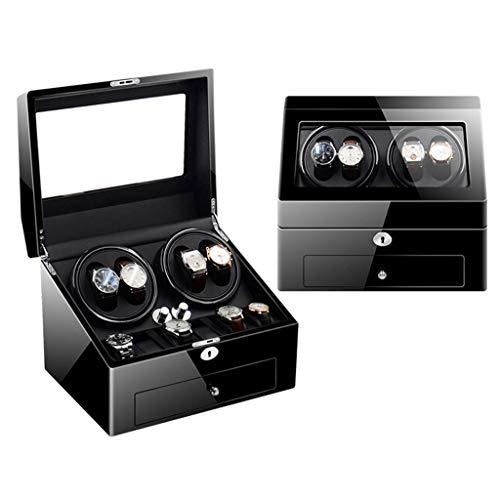 DFJU Uhrenbeweger Uhrenbeweger, Haushalt Automatische Stummschaltung Motor Mode Multi-Epitop 4 + 6 Stuhl Shaker Aufbewahrungsbox Geschenk Mechanische Wickeluhr Box, Schwarze Uhr
