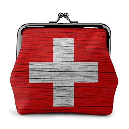 AEMAPE Suiza Textura de Madera Bandera Suiza Bolsa Vintage Chica Kiss-Lock Cambio Monedero Carteras Hebilla Monederos de Cuero Llave Mujer Impresa