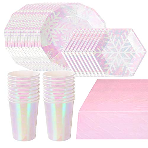 DreamJing Rosa Mädchen Papier Partygeschirr Set, Tischdeko, Pappgeschirr Partygeschirr mit Servietten Geburtstag Geschirr Kit, 81 Teile Happy Birthday Set (20 Gäste)