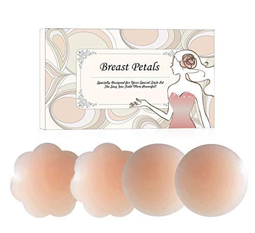 KQueenStar Nipple Cover - Silikon Nippelabdeckung Gel Brustwarzenabdeckung Selbstklebend & Wiederverwendbar Brust Aufkleber unter, Farbe Flower +Rounda, M