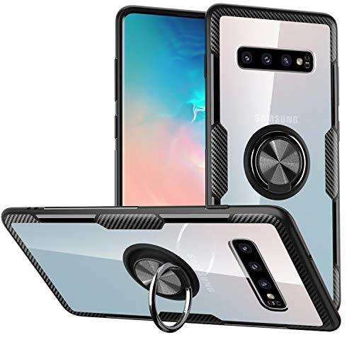 Galaxy S10E Case,SQMCase Crystal Clear Carbon Fiber Design Armor Protective Case with 360 Degree Rotation Finger Ring Grip Holder Kickstand [Work with Magnetic Car Mount] for Galaxy S10E,Black