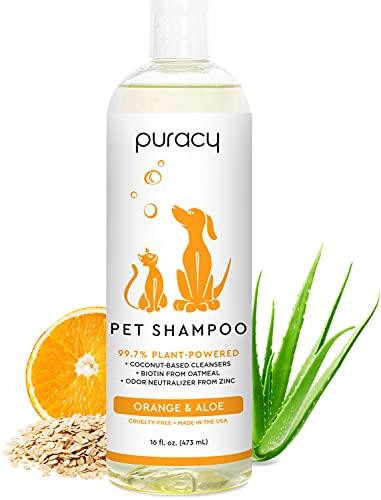 Puracy Pet Shampoo - Dog Shampoo & Cat Shampoo - Aloe & Oatmeal Shampoo for All Household Pets - Moisturizing Dog Shampoo for Shiny Coats & Odor Elimination - Itch Relief Pet Shampoo   16fl.oz