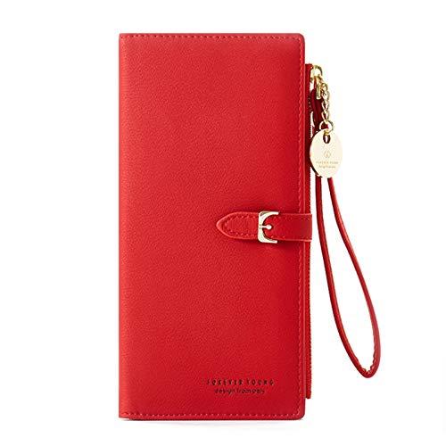 Katech Geldbeutel Damen Leder, Reißverschluss Portemonnaie Frauen mit Druckknopf und 3 Fächer, Rot