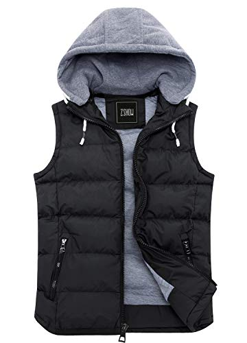 ZSHOW Men's Winter Removable Hooded Cotton-Padded Puffer Vest(Black,Large)