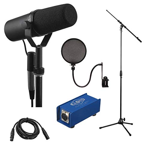 Shure SM7B Cardioid Dynamic Studio Vocal Microphone - Bundle with Cloud Mic Cloudlifter CL-1 Single Channel Mic Activator, Tripod Mic Stand, Pop Filter, 10' XLR Cable
