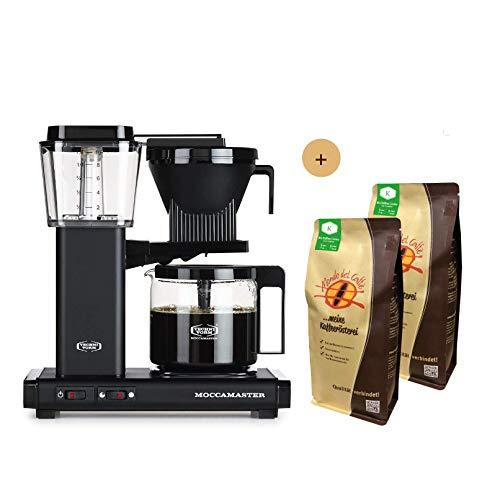 Moccamaster Filter Kaffeemaschine KBG Select matt Black (mattschwarz), 1.25 Liter, 1520 W, Black Aktionspaket mit 2 * 500 gr. Filterkaffee von Mondo del Caffè